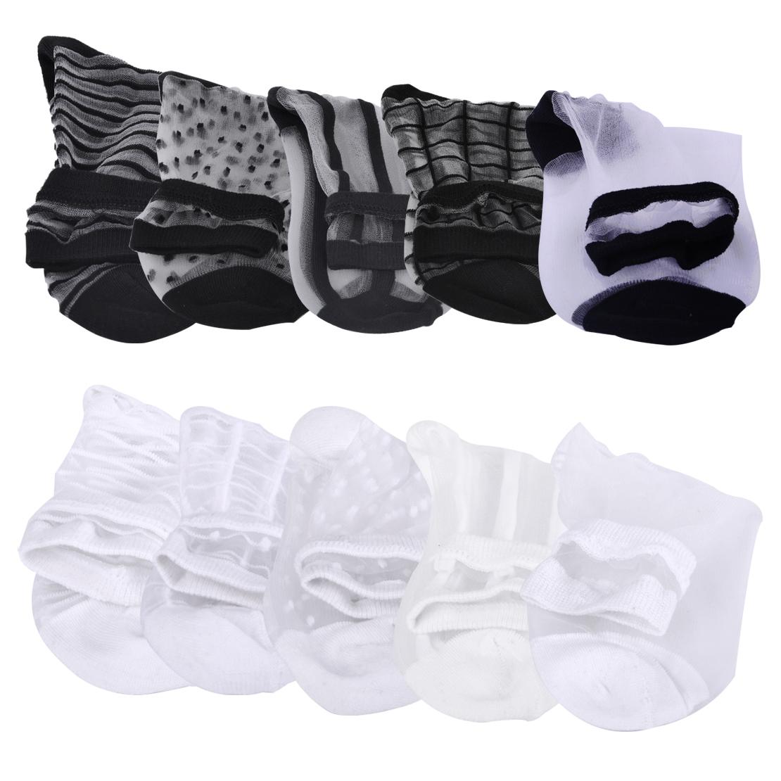 5 Pair Mixed Pattern Ultrathin Glass Silk Socks Sheer Elastic Short Ankle Women