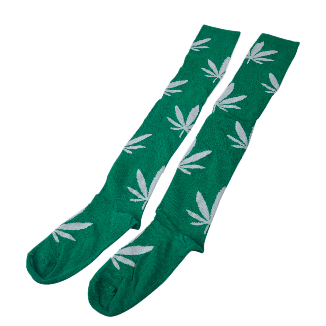 Hot-Women-Girl-Marijuana-Weed-Leaf-Sport-High-Stocking-Over-the-Knee-Long-Socks