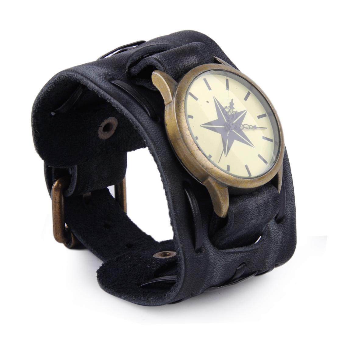 retro cool punk wrist watch big wide leather band bracelet
