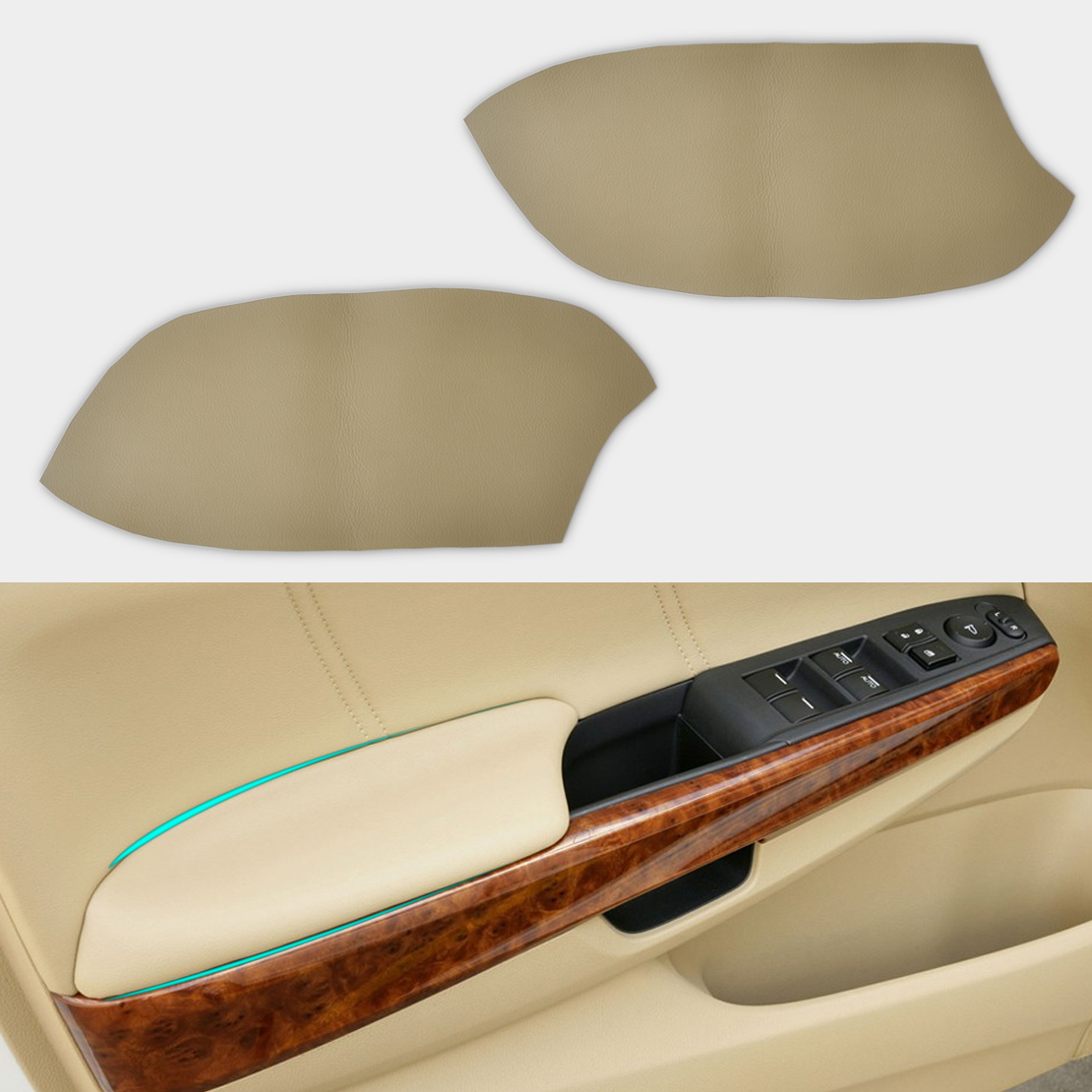 2x Beige Leather Front Door Armrest Panel Covers For 2008