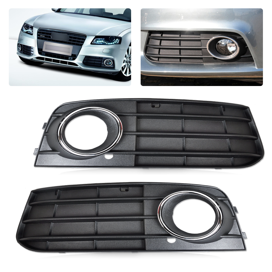 2pcs fog light lamp cover grille for 08 12 audi a4. Black Bedroom Furniture Sets. Home Design Ideas