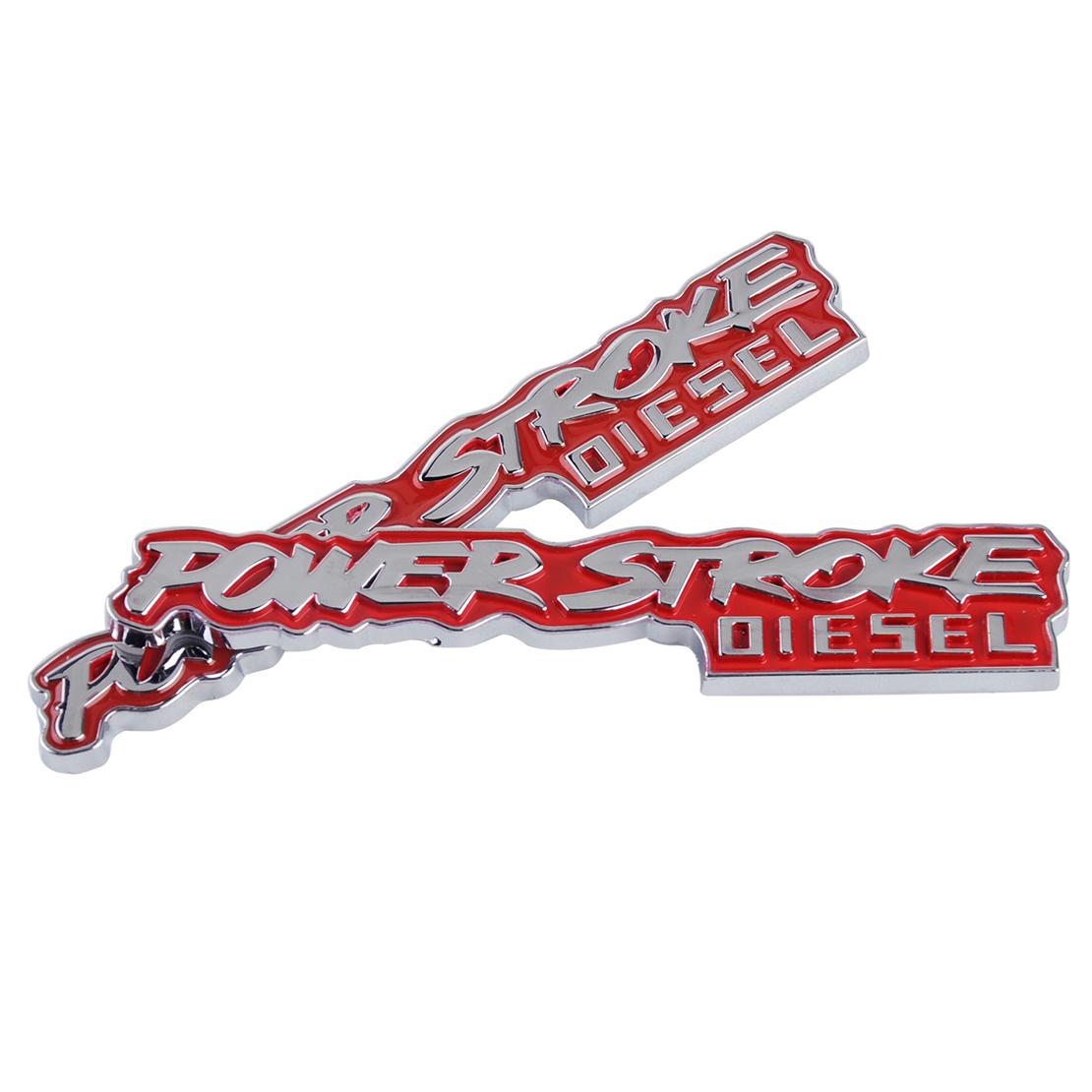 2x power stroke diesel emblem metall badge aufkleber. Black Bedroom Furniture Sets. Home Design Ideas