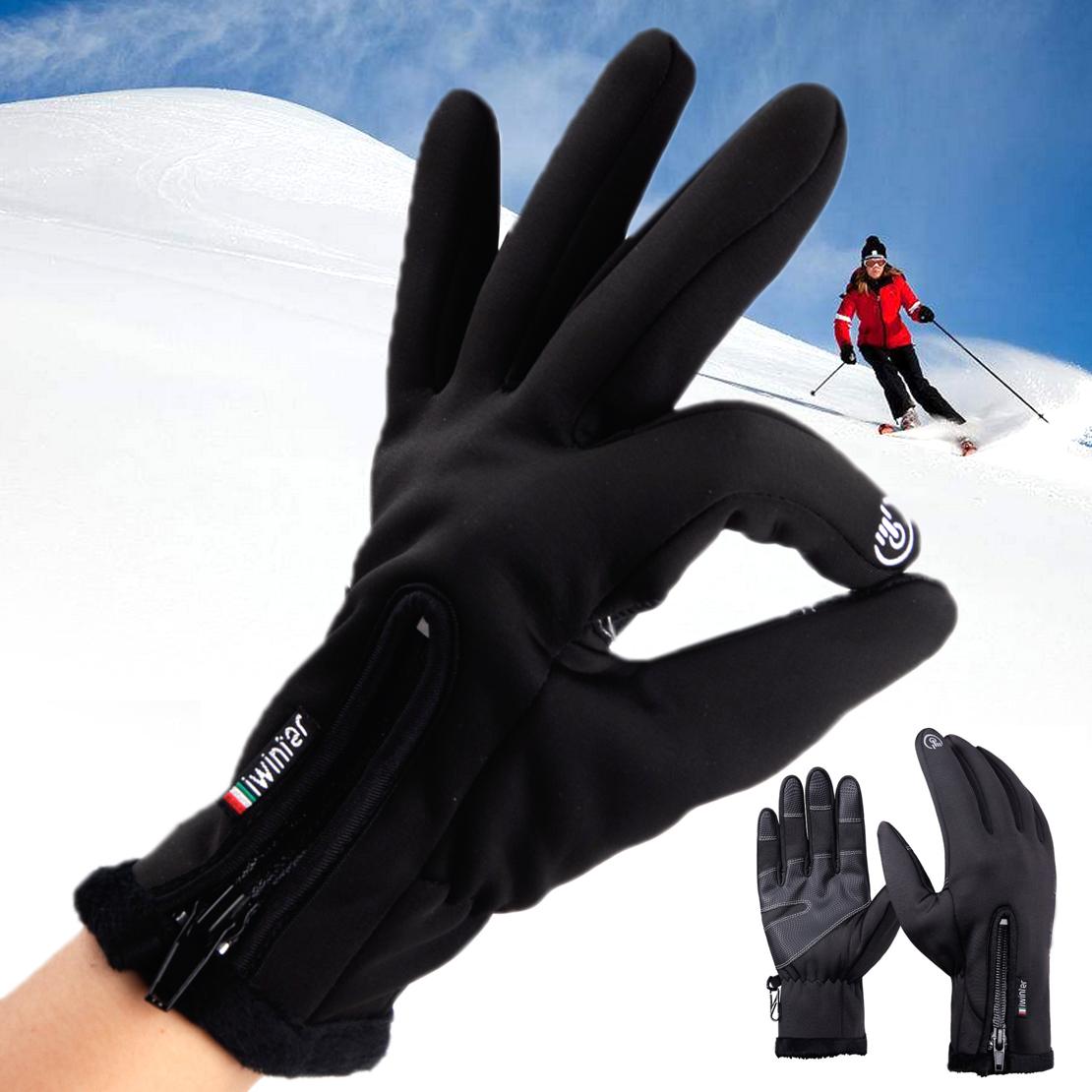 Motorradhandschuhe Herren Wintersport Thermo PU Leder Handschuhe Touch