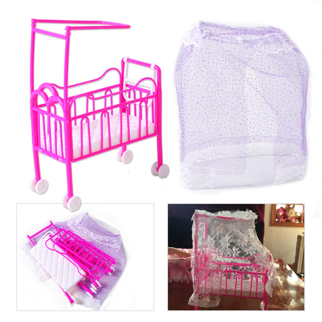 bed miniature dollhouse toy bedroom furniture fit for barbie dolls