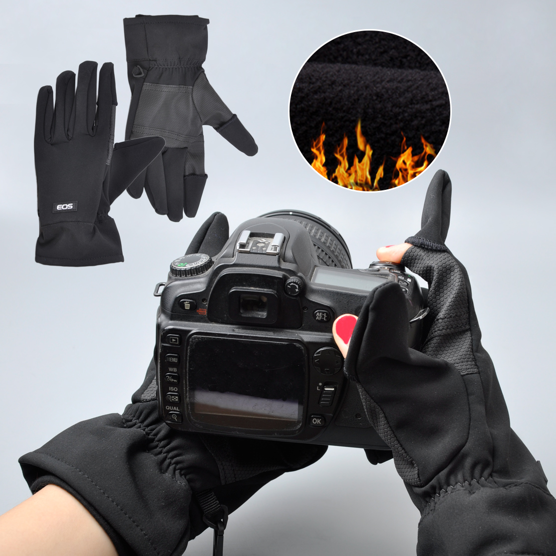 Winter Warm Photo Gloves Mittens Fit For EOS Canon Camera