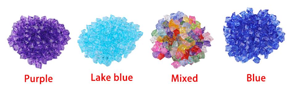 100X Klar Mixed Acryl Steine Aquarium Dekoration Eiswürfel Acrylic Stones Party