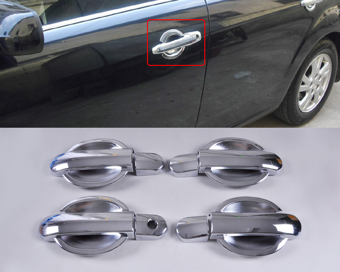 Chrome Door Handle Cover Cup Bowl Combo For Nissan Versa