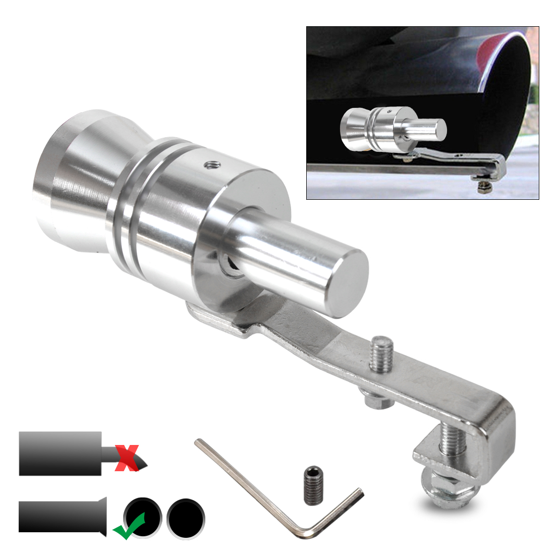 Silver XL Universal Car Turbo Sound Muffler Exhaust Pipe Blow-Off Vale Simulator Whistle