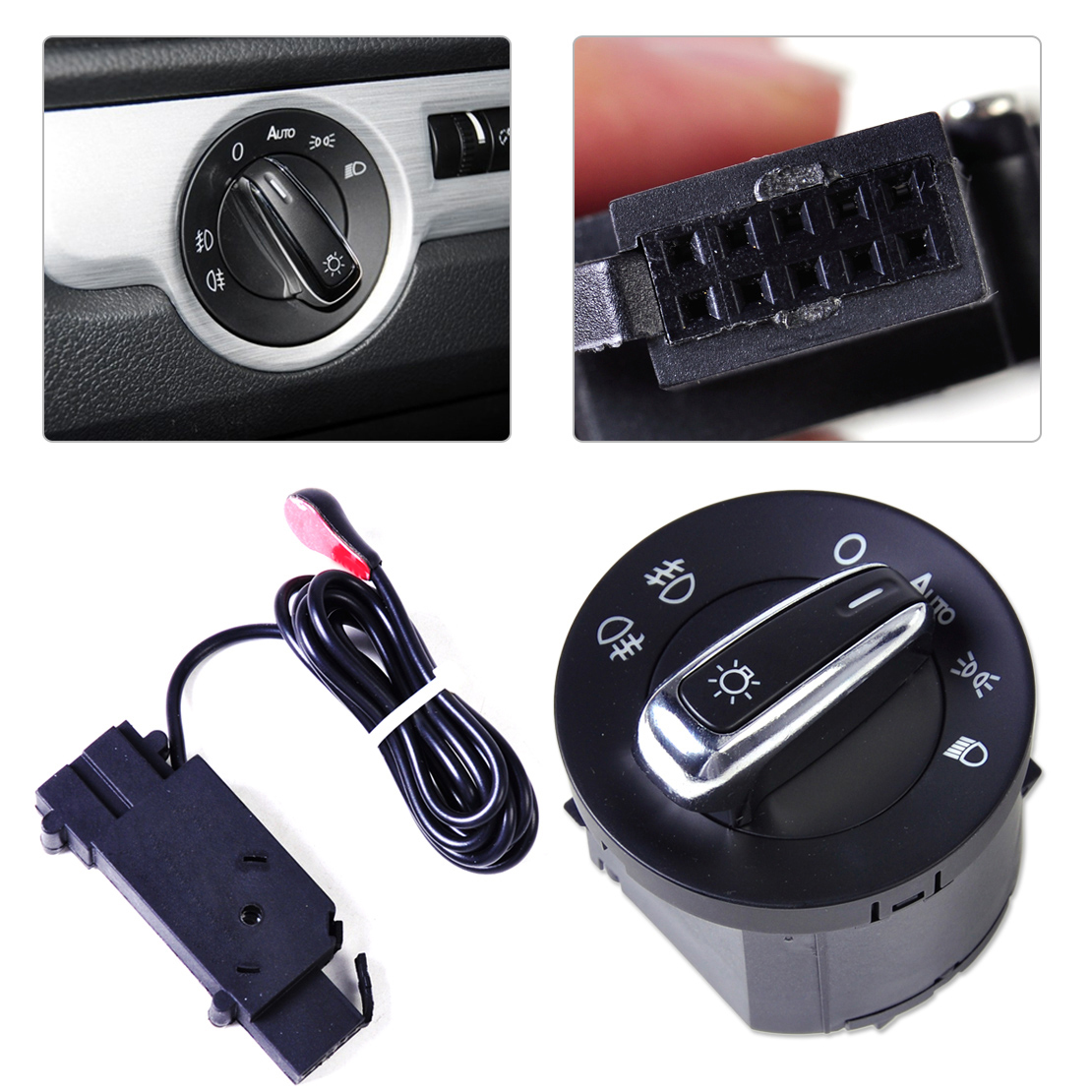 Auto Headlight Sensor +Chrome Switch For Golf Jetta MK5