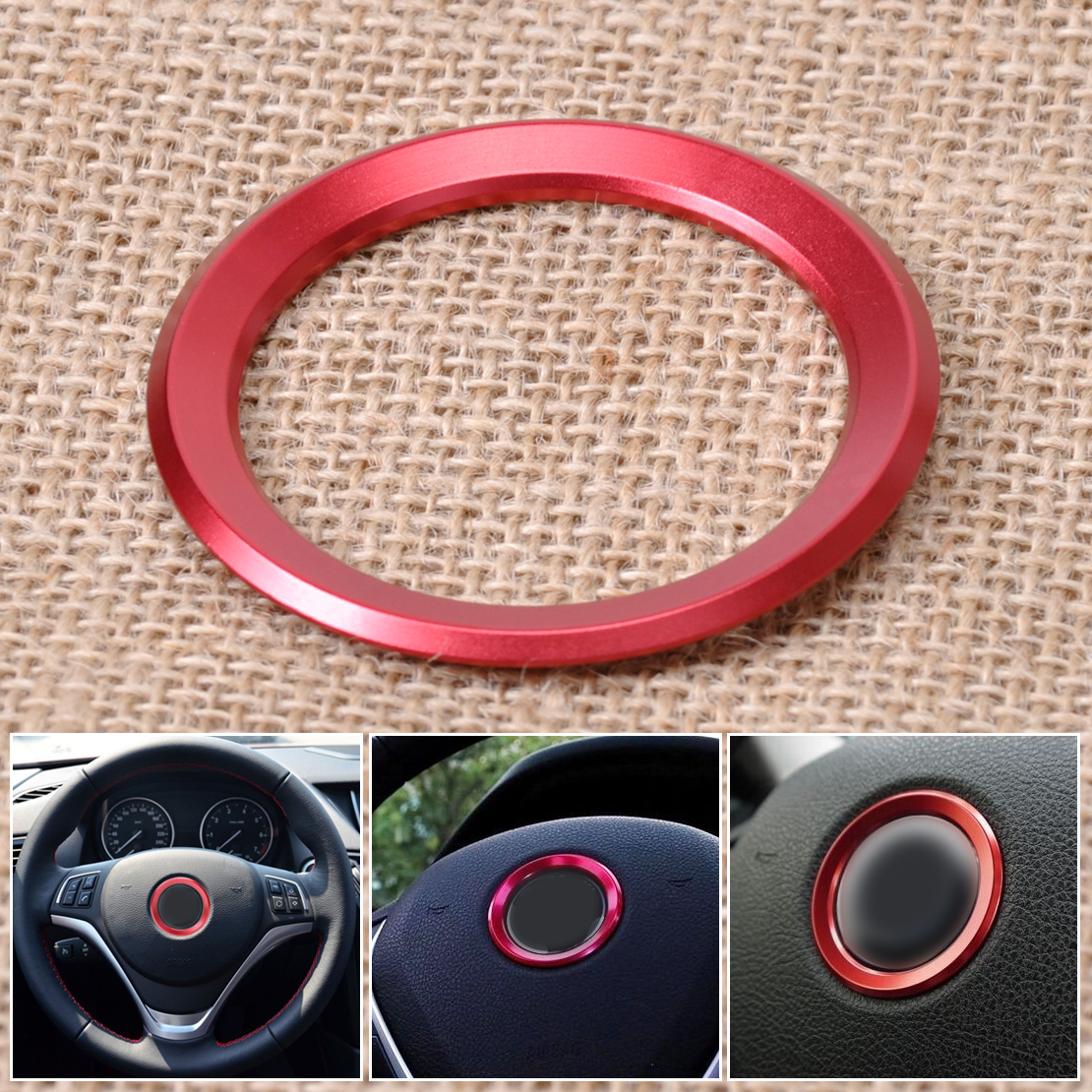 Decor Steering Wheel Cover Trim Aluminum Red For BMW 1 3 4 5 7 M3 M5 X1 X3 X5 X6