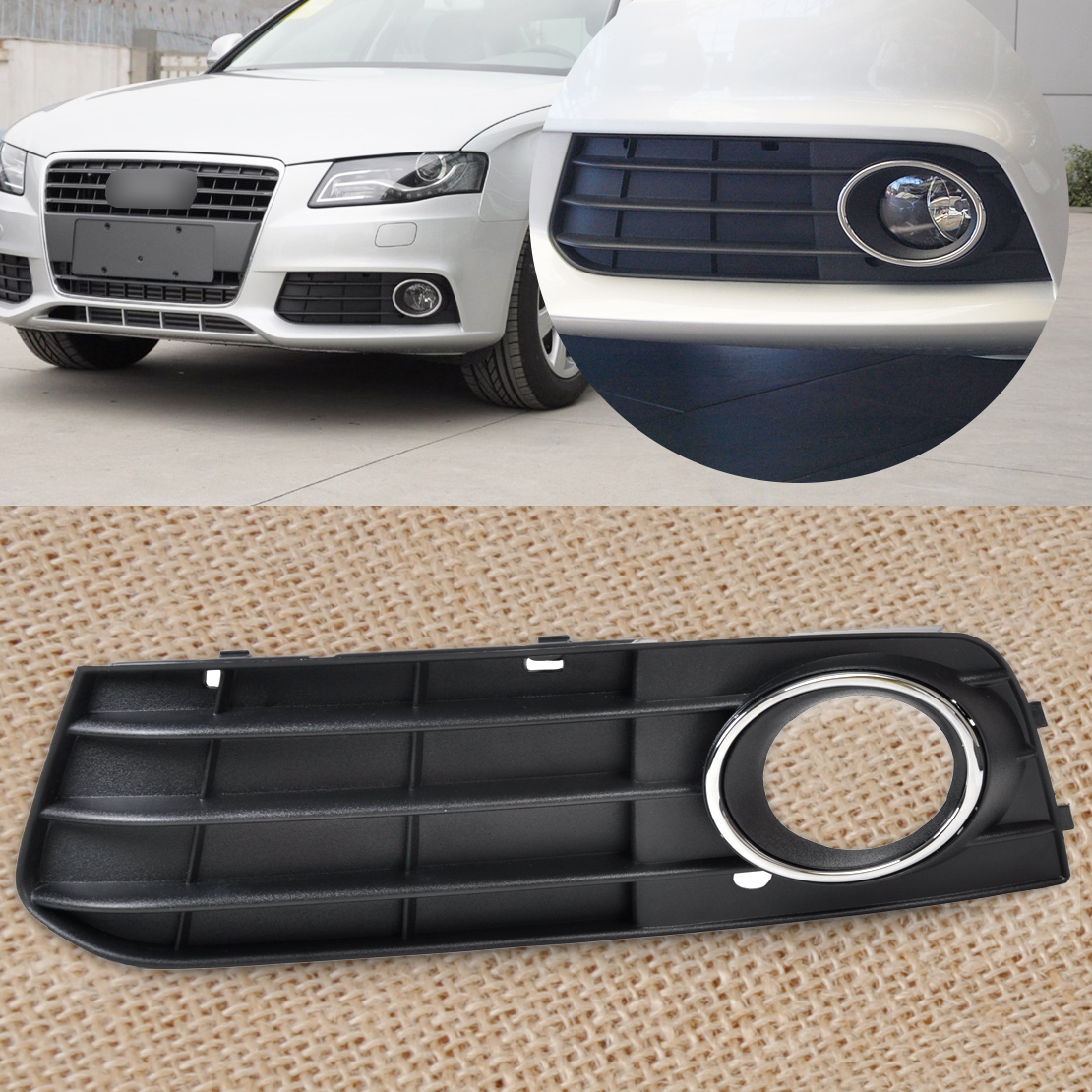 left bumper fog light lamp cover grille grill for audi a4. Black Bedroom Furniture Sets. Home Design Ideas