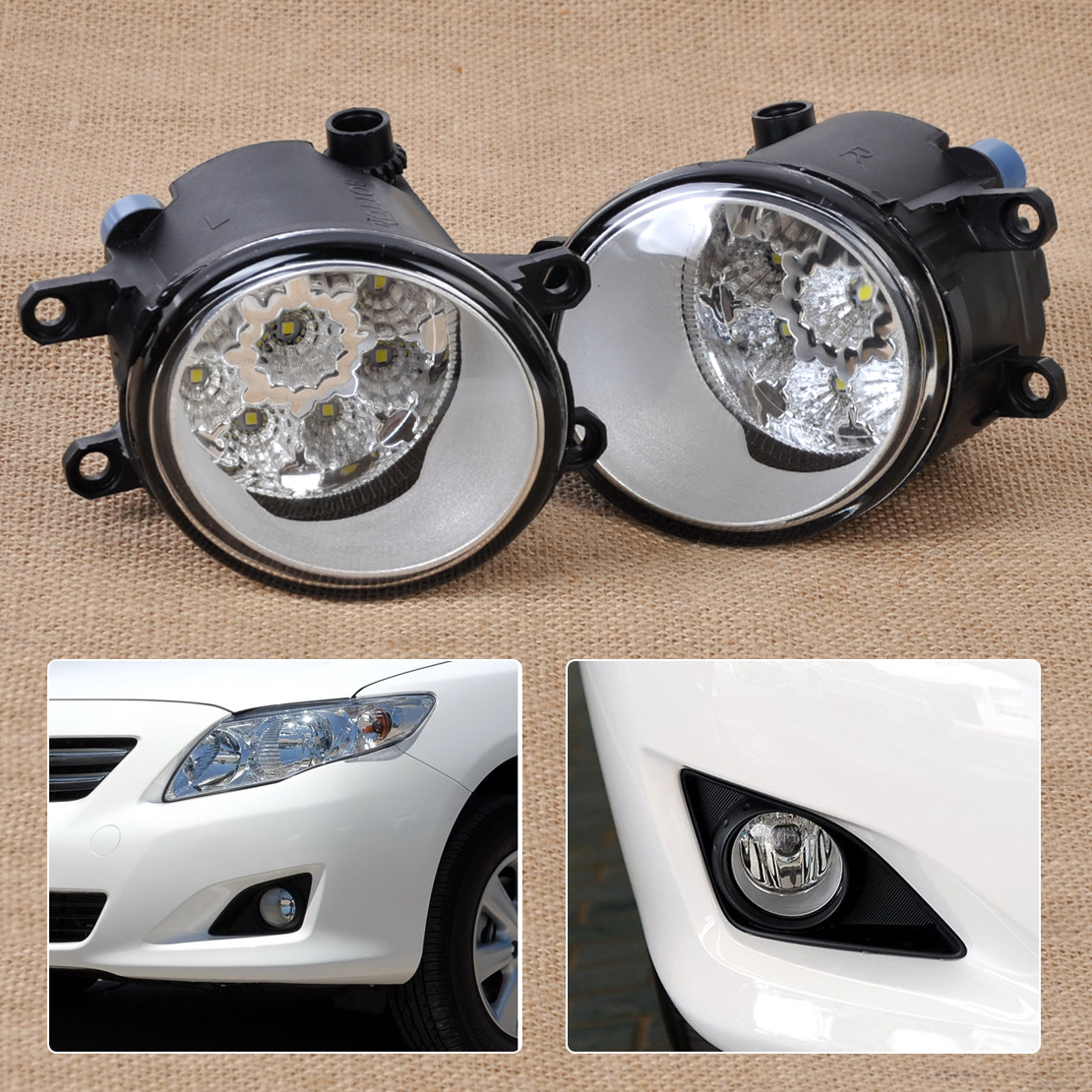 55w 9 led fog lamp drl daytime driving lights for toyota. Black Bedroom Furniture Sets. Home Design Ideas