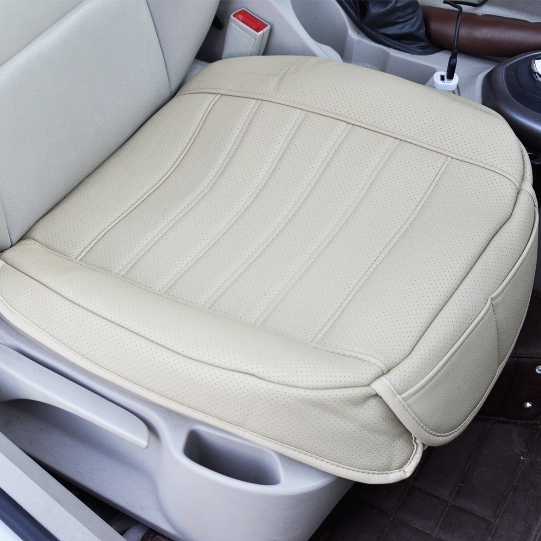 Universal Beige Car Front Seat Cover Breathable PU Leather Pad Cushion 702706039161
