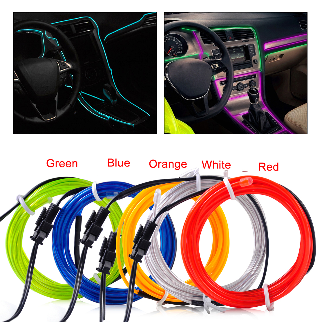 red el wire flexible 12v car interior decor fluorescent neon strip light tape ebay. Black Bedroom Furniture Sets. Home Design Ideas