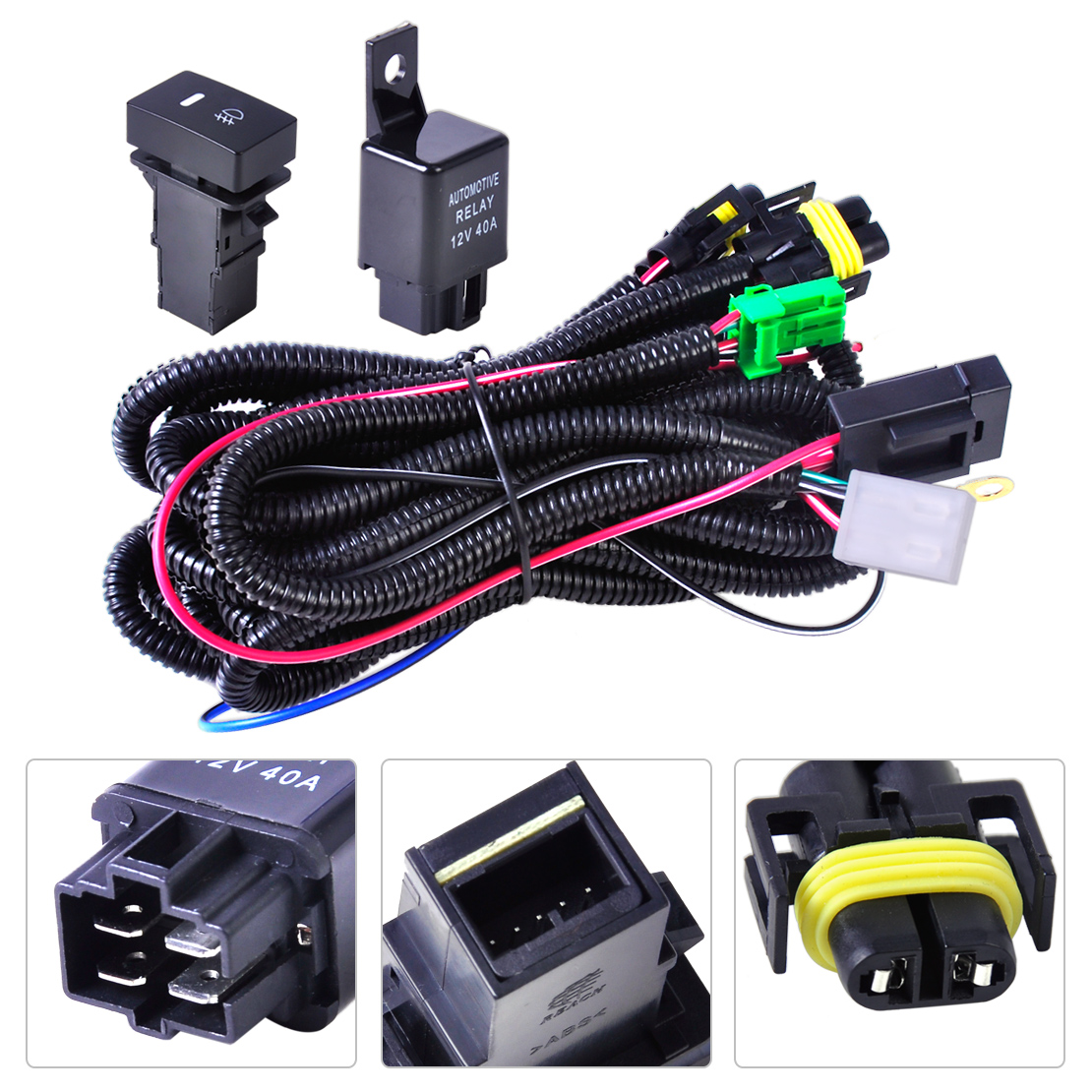 1 wiring harness sockets switch for h11 fog light lamp ford focus 2003 mustang fog light wiring harness at gsmx.co