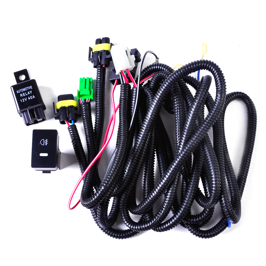 20 pin wire harness wire flashlight wire harness wiring harness sockets + switch for h11 fog light lamp ...