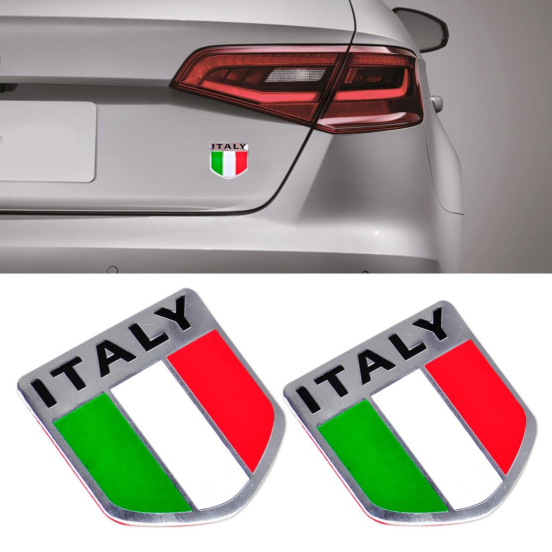 Italian Flag: 2 X Aluminum 3D Metal ITALY Italian Flag Sticker Emblem