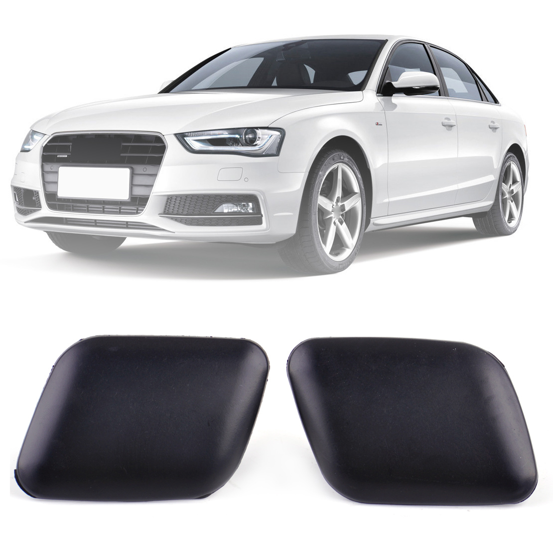 1 Pair Front Bumper Headlight Washer Cover Cap Fits Audi