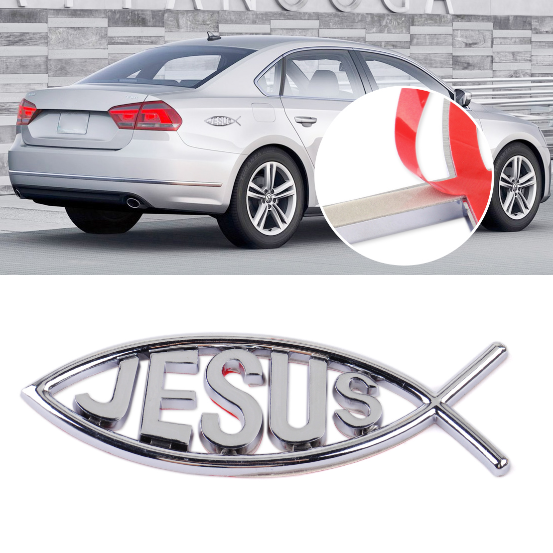 3d jesus fish symbol logo car emblem badge sticker decal for Fish symbol on cars