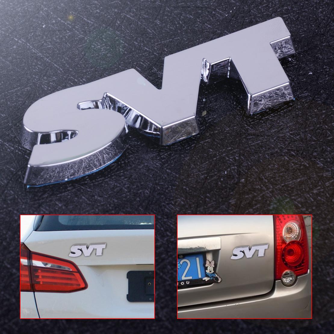 Silver Car Side Rear Trunk SVT Logo Emblem Decals Badge Sticker Decoration Auto