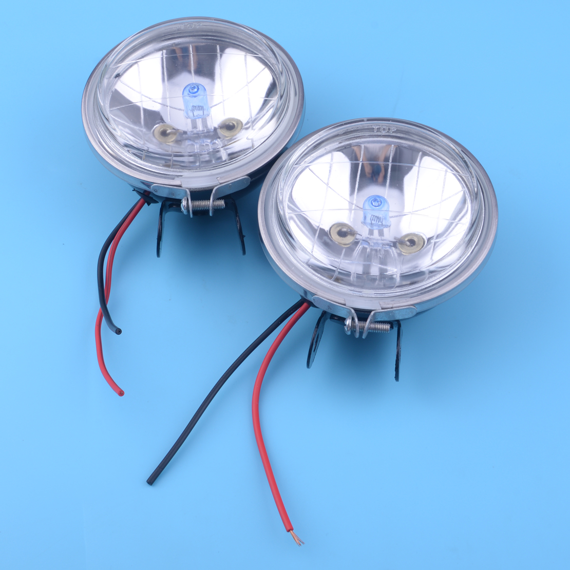 Clear 2x H3 90mm Round Lamps Fog Lights 100W Kit 12V 3.5inch For Van Bus Truck