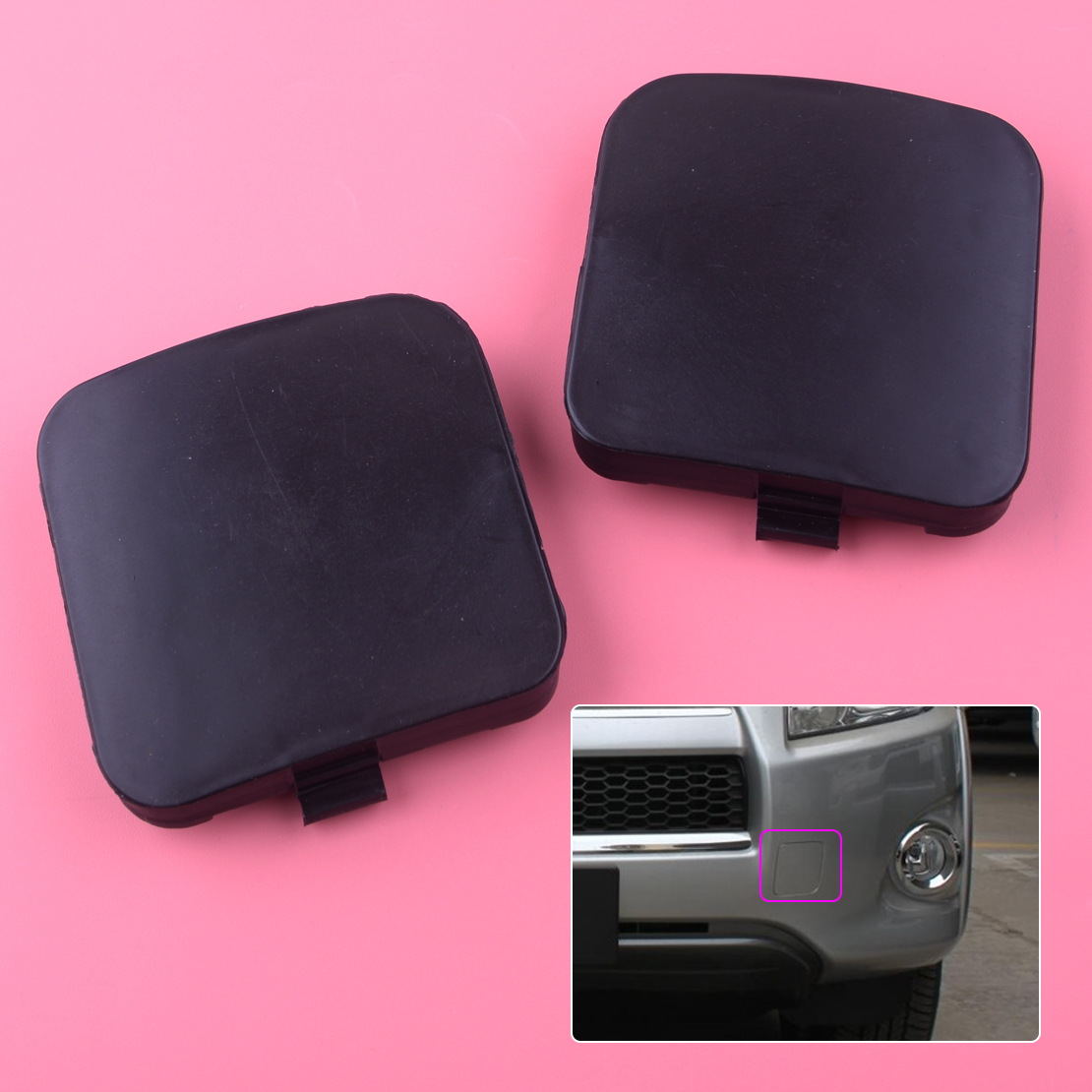 2pcs Front Left /& Right Car Bumper Trailer Tow Hook Eye Covers Caps 53286-0R020 for Toyota RAV4 2009 2010 2011 2012