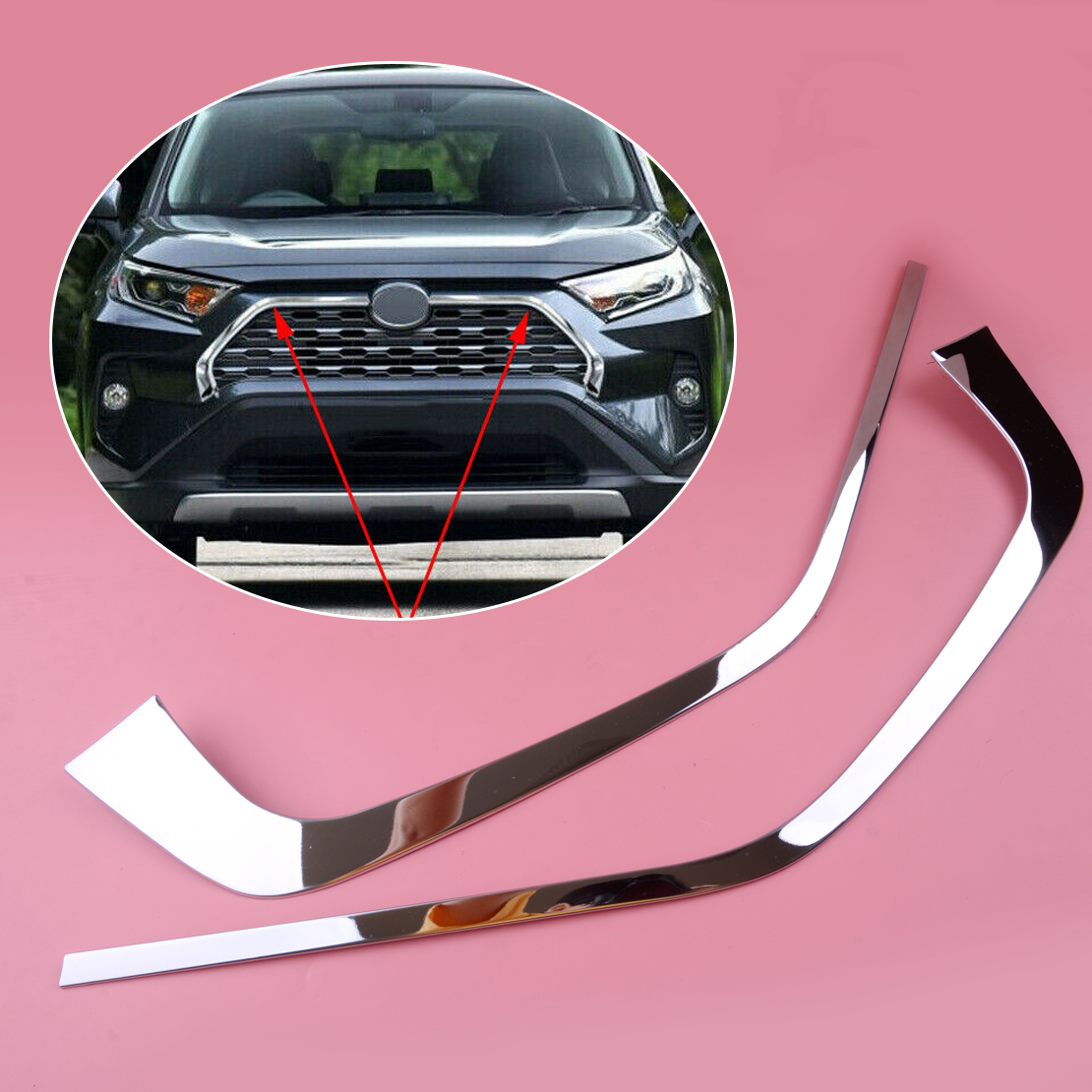 For Toyota Rav4 2019 ABS Chrome Front Grill Grille Decorative Cover Trim Strips