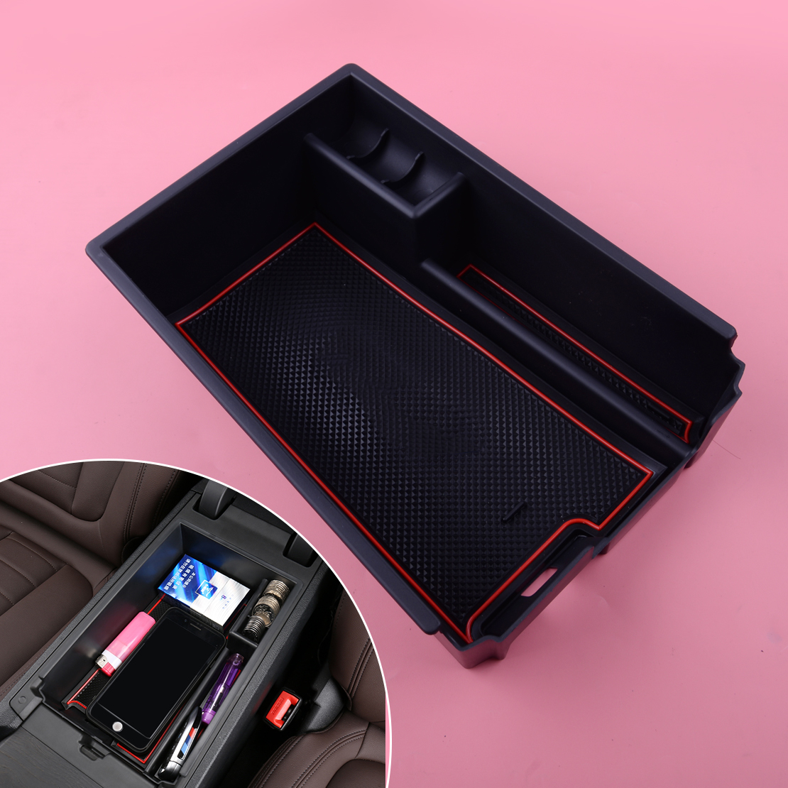 Plastic Car Interior Armrest Storage Box Console Central Container Phone Glove Tray Holder for BMW New 5 Series G30 2017 2018 Black