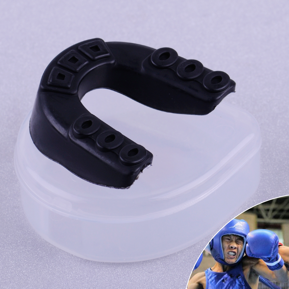 Double Teeth Protector Mouth Guard Gum Shield /& case for Gym Boxing Rugby Hockey