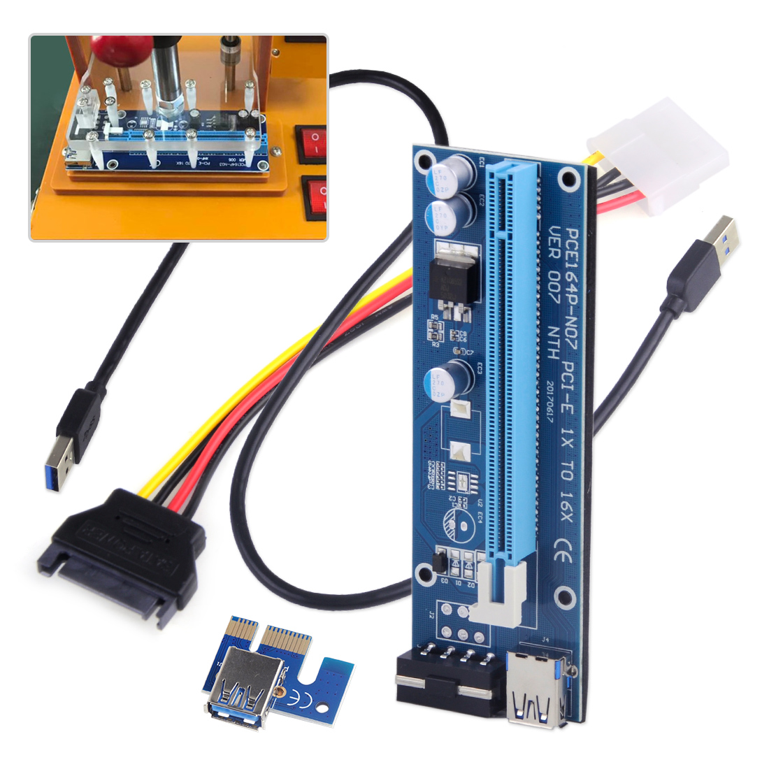 USB 3.0 Pcie PCI-E Express Extender Riser Card Adapter Power BTC Mining Cable 1X