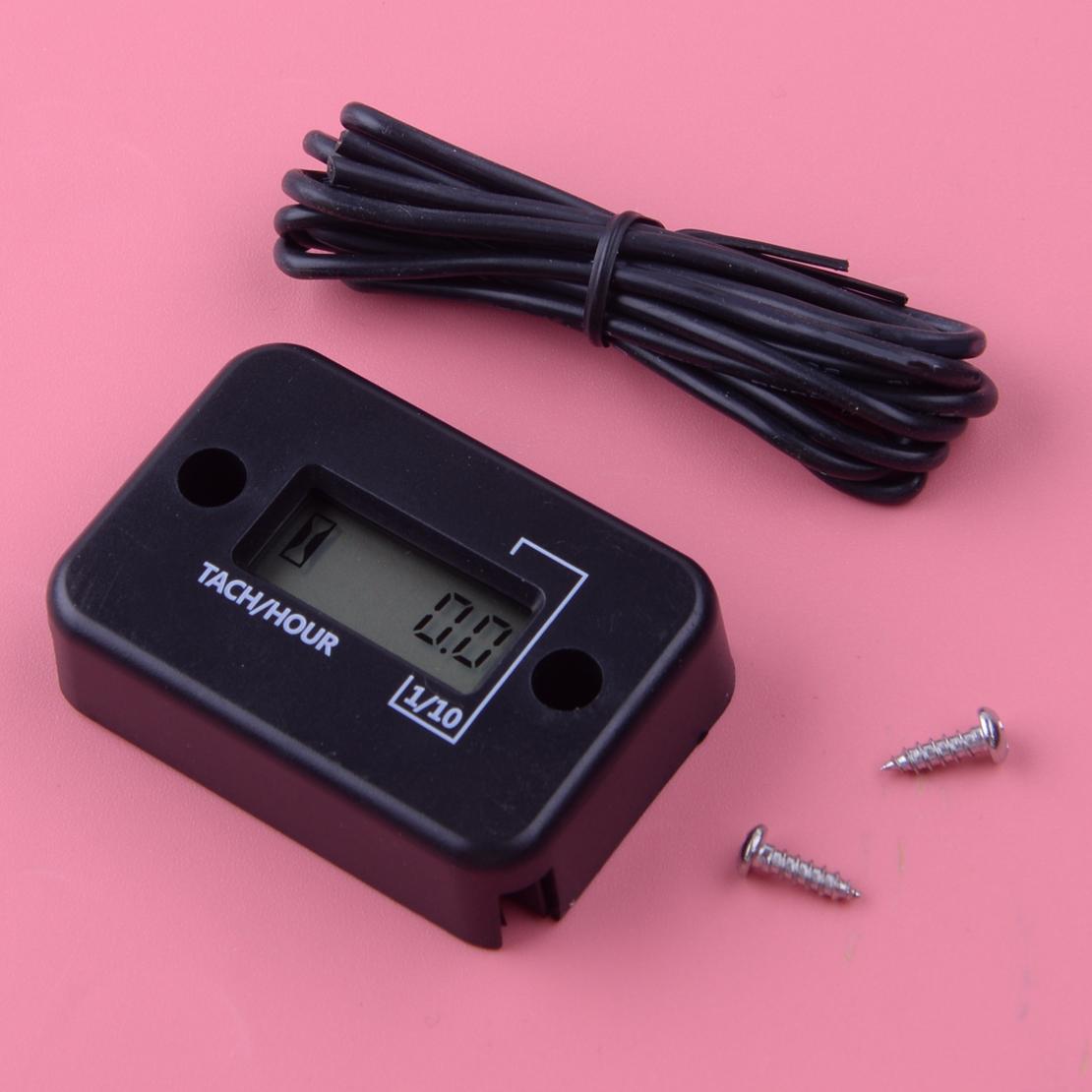 Waterproof Digital Tachometer Tach Hour Meter Gauge LCD for 4 Stroke Gas Engine