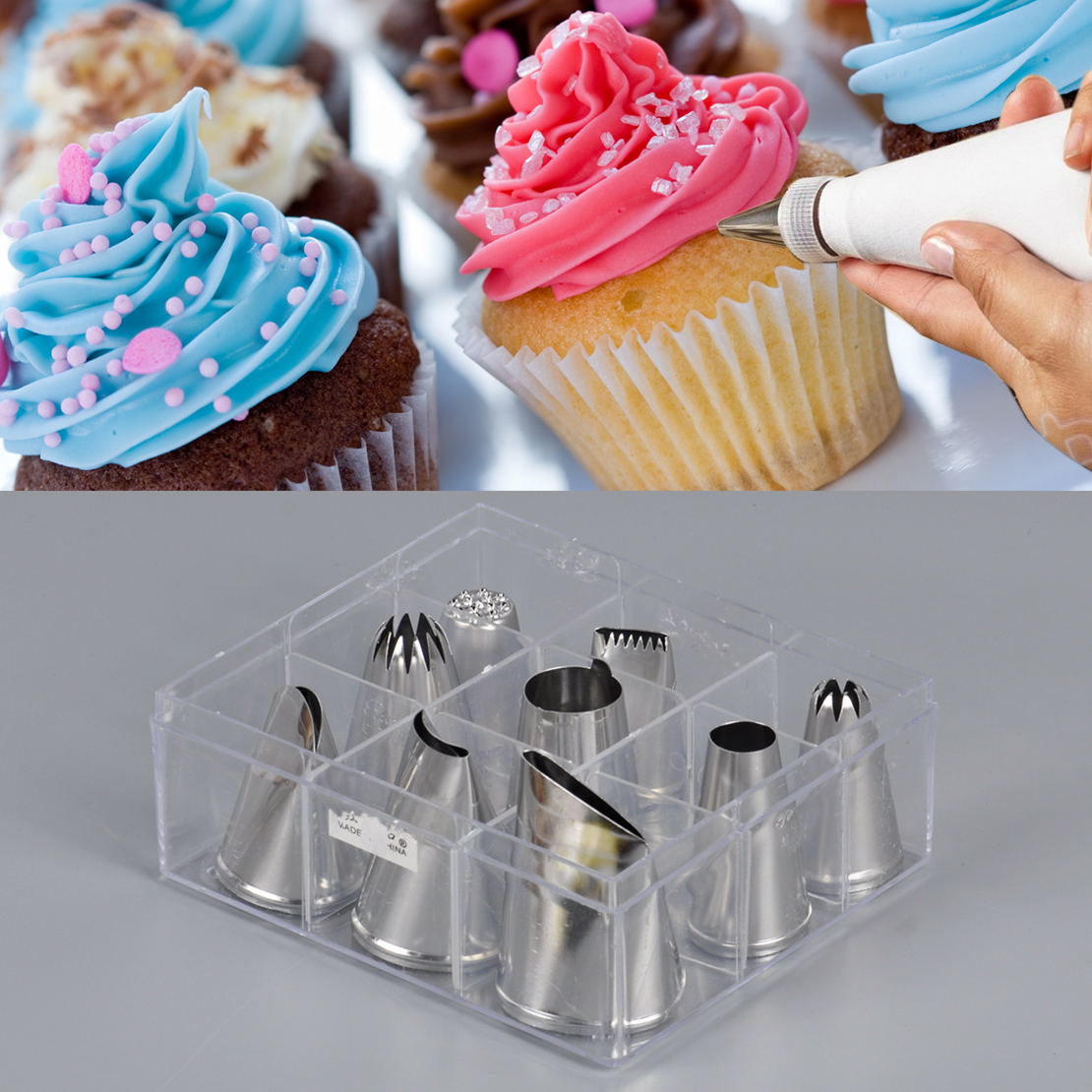 9 pieces extra large cupcake icing piping nozzles tips box ...