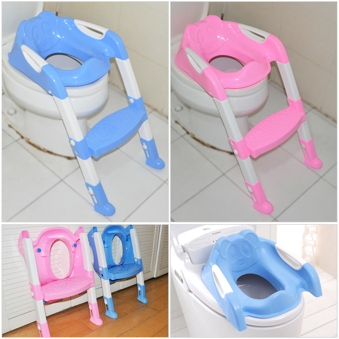 kids toilet potty trainer seat chair toddler with ladder step up training stool ebay. Black Bedroom Furniture Sets. Home Design Ideas