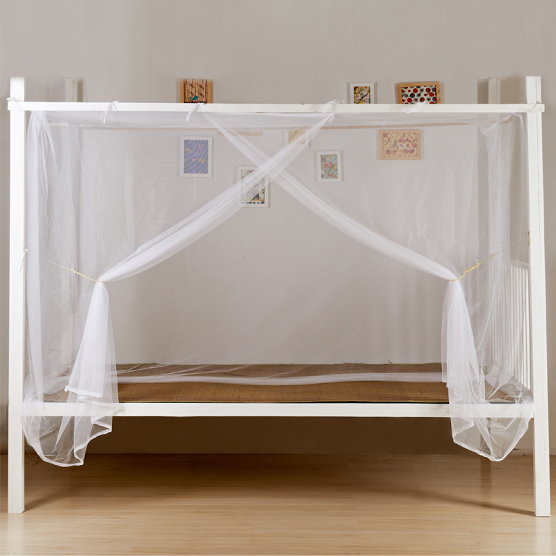 White Four Corner Post Bed Canopy Frame Mosquito Net Twin Full Queen King Size Ebay