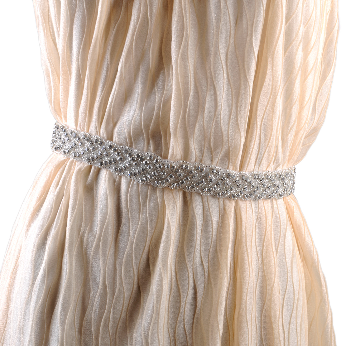 Handmade wedding dress bridal sash belt appliques for Wedding dress sash with rhinestones