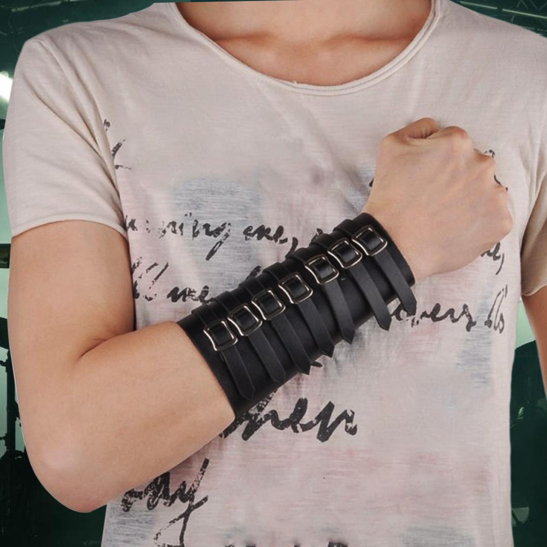 Schwarz Leder Armschiene Armstulpe Armschoner Armschützer Lederstulpe 7 Buckle