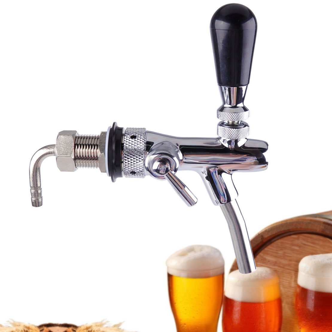 Adjustable Silver Draft Beer Faucet Tap G5/8 Shank Flow Controller ...