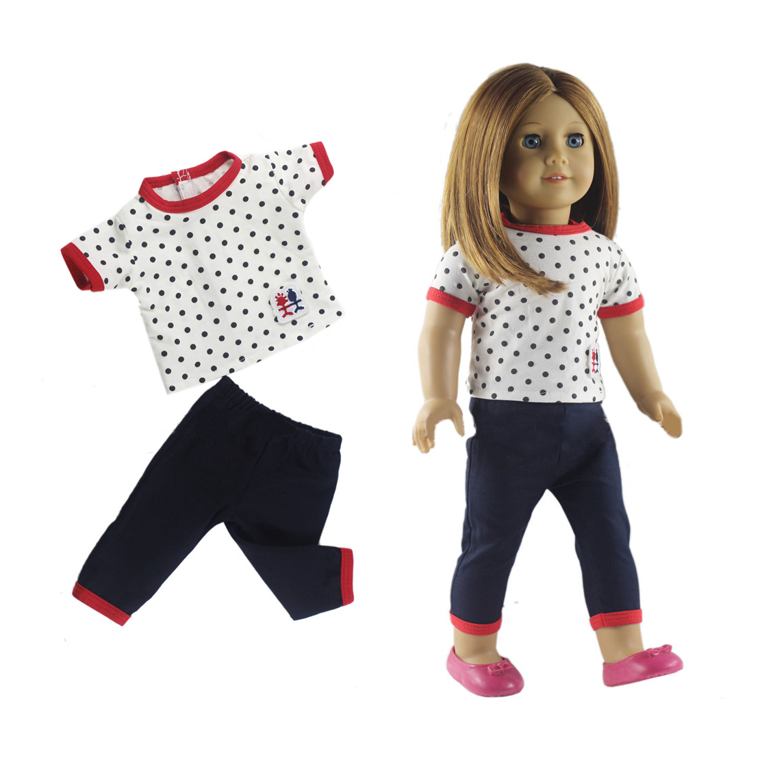 Fit For 18 Inch American Girl Doll Clothes Casual Wear Suit Shirt Pants Outfit
