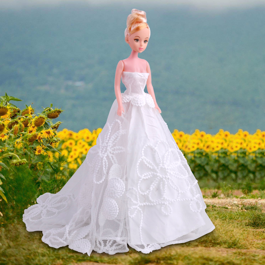 White Bridal Princess Dress Gown Wedding Evening Clothes for Barbie ...