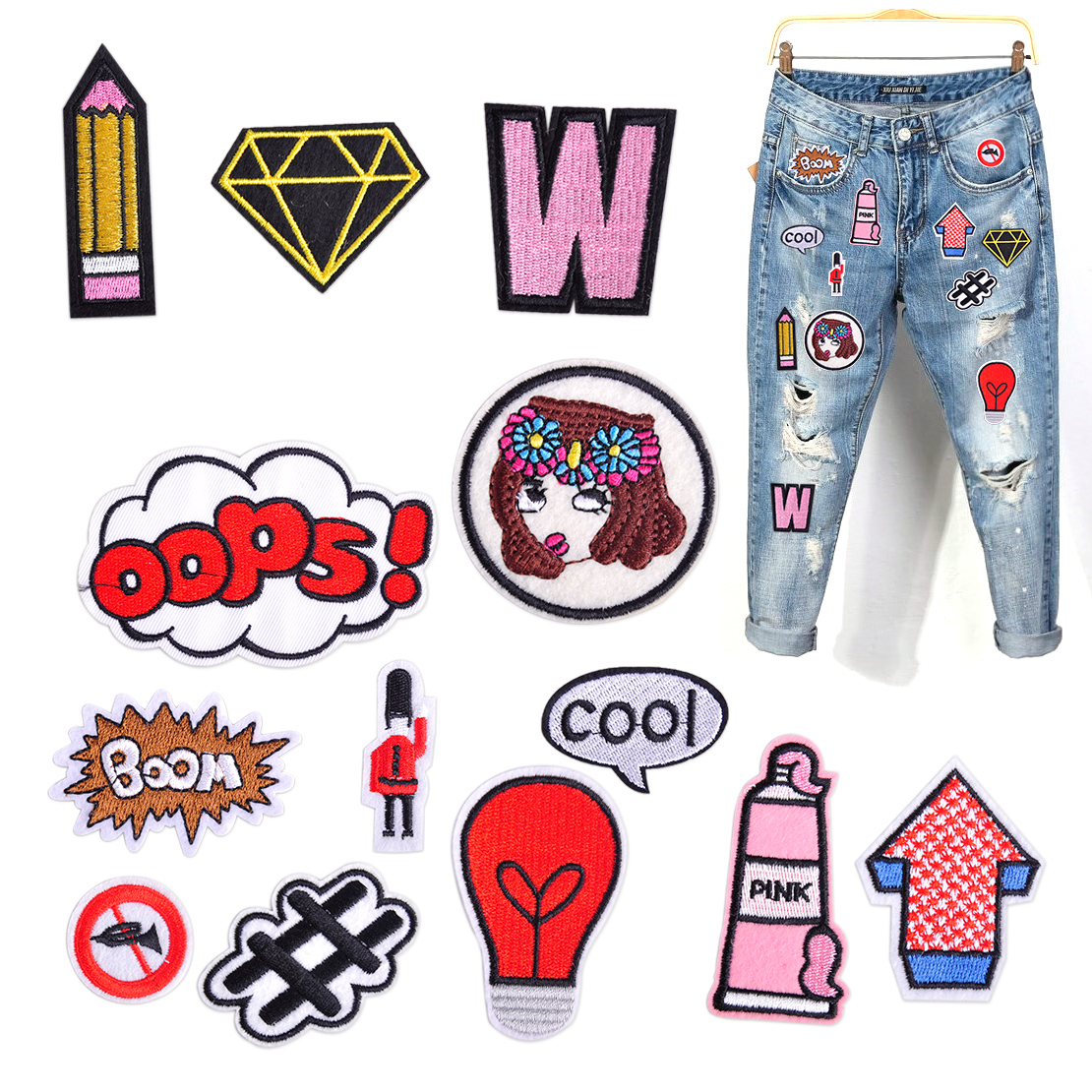 13x Boom Oops Letter Embroidery Patch Set Applique Badge Sew Iron On Clothing