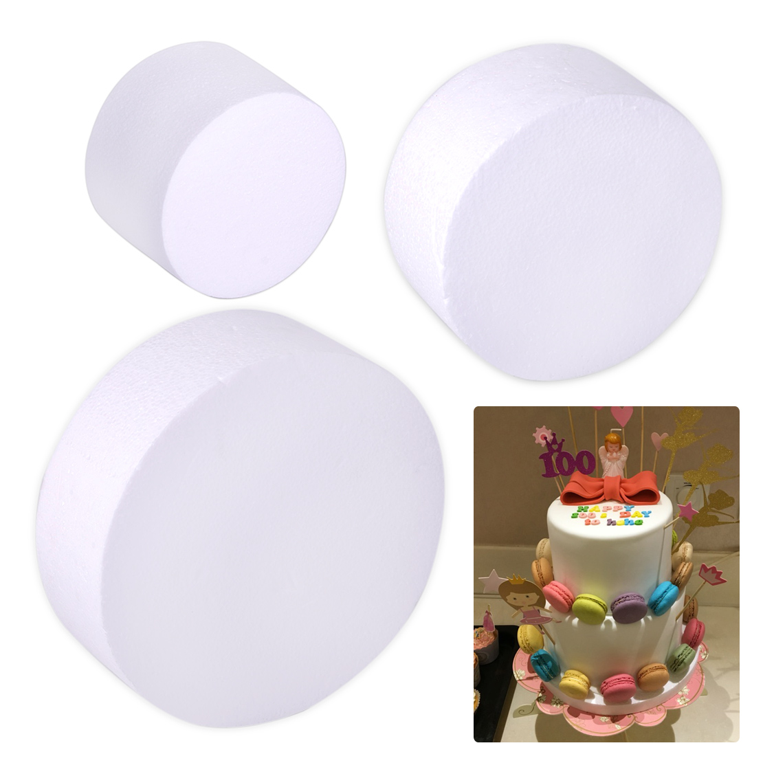 15cm Polystyrene Deep Cake Dummy to DecorateStyrofoam Shapes for Crafts