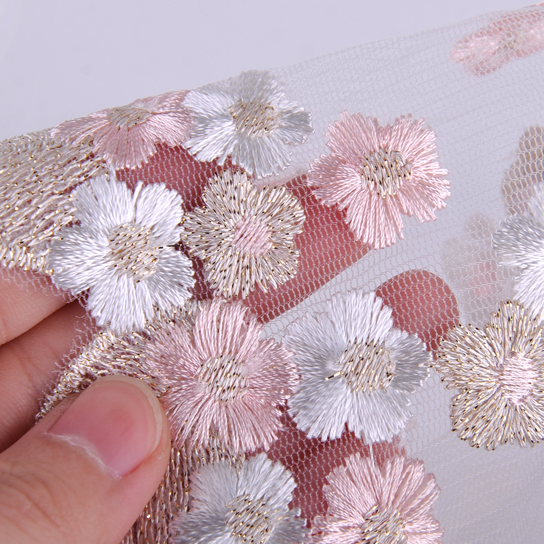1 Yard Embroidered Leaf Floral Flower Lace Trim Sewing