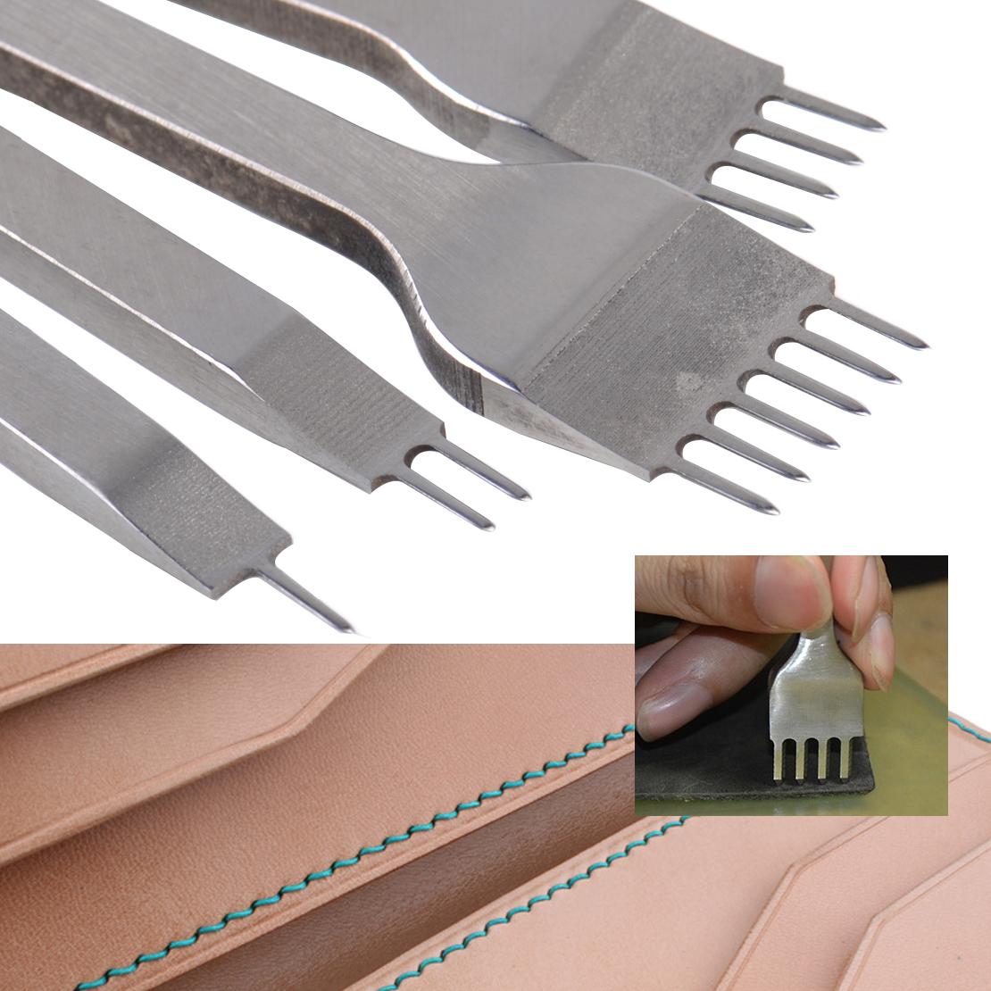 6 Prong Leder Craft Punches Schnürung Stitching Meißel Werkzeug 2 4