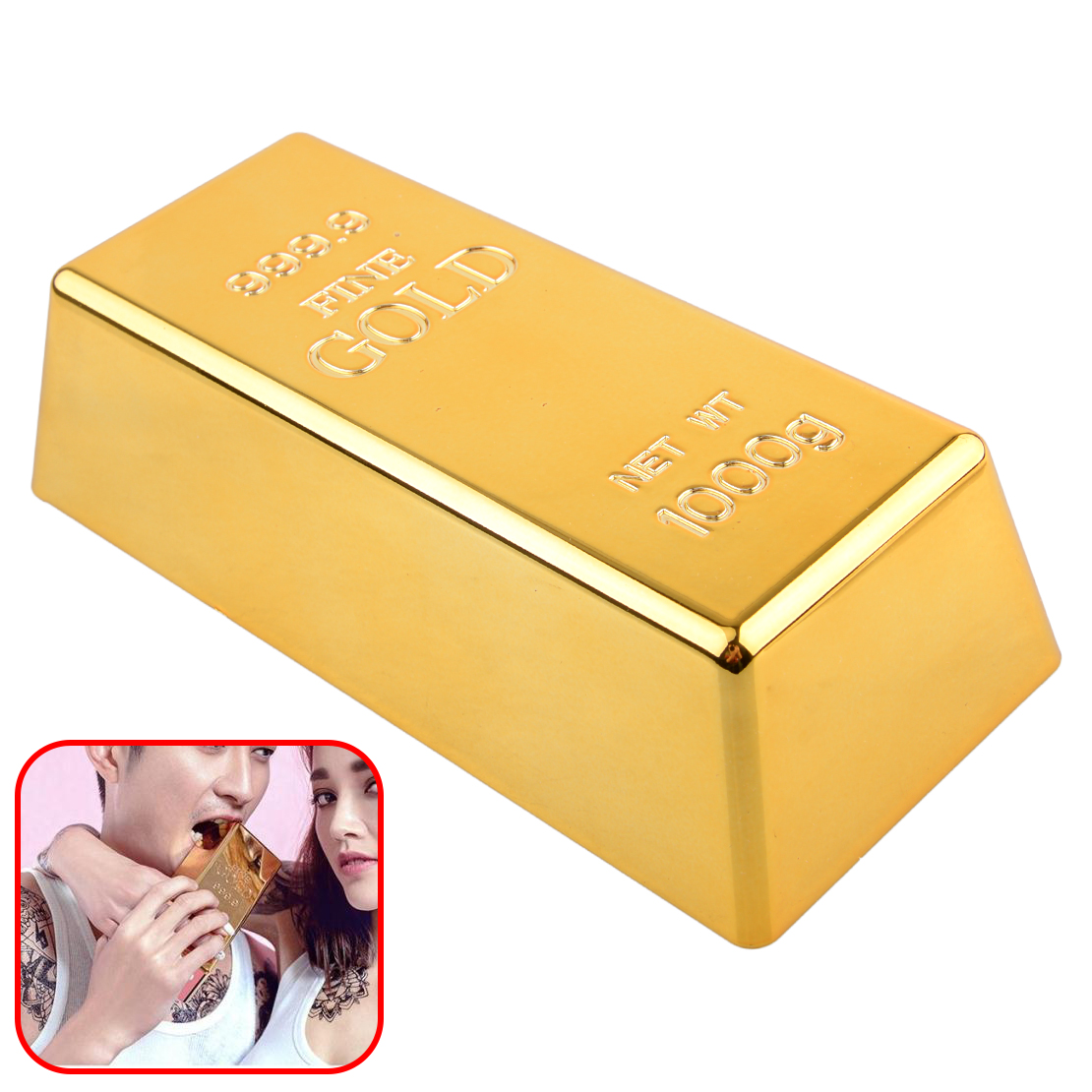 Fake Gold Bar Paperweight Desk Office Table Plate Bullion Door Stop