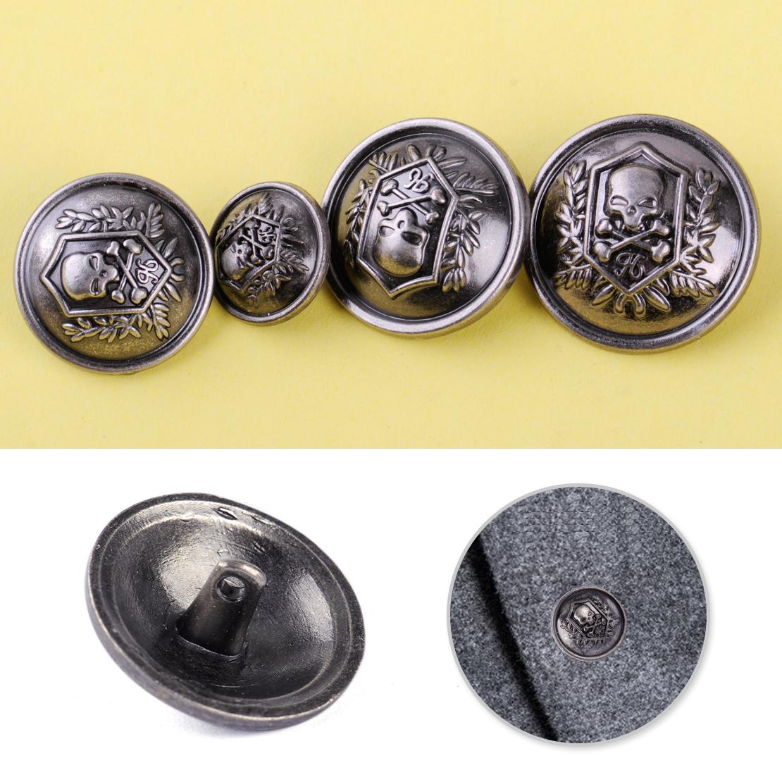 10pcs Skull Crossbones Shank Buttons Metal Sewing Button Coat Embellishment DIY