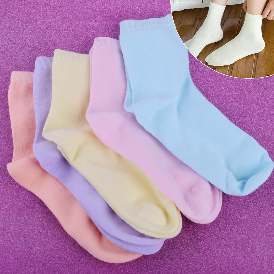 5 Paar Damen Baumwollsocken Mädchen Solid Kuschel Bunte Weiche Socken Girl Socks