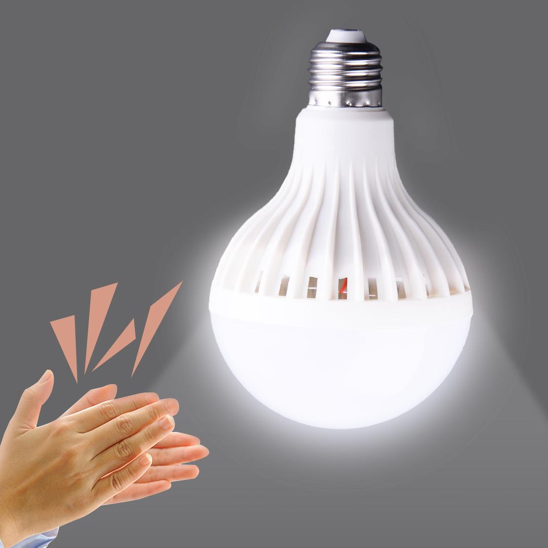 E27 12W New Clap /& Turn The Light Bulb Lamp LED Sound Smart Sensor Energy Saving